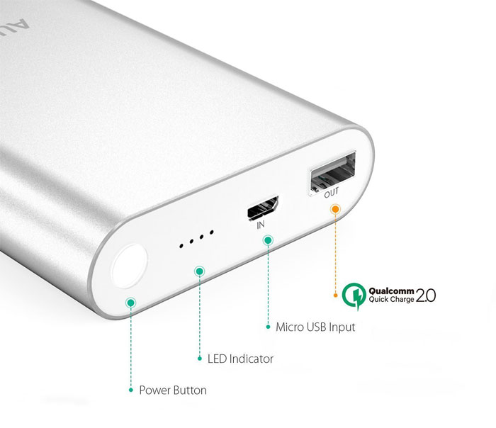 Aukey 10400mAh Quick Charge 2.0 Portable Charger features