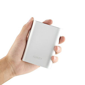 Aukey 10400mAh Quick Charge 2.0 Portable Charger size comparison