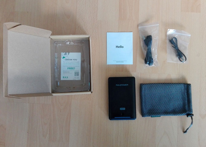 RAVPower 16750mAh Power Bank out of the box
