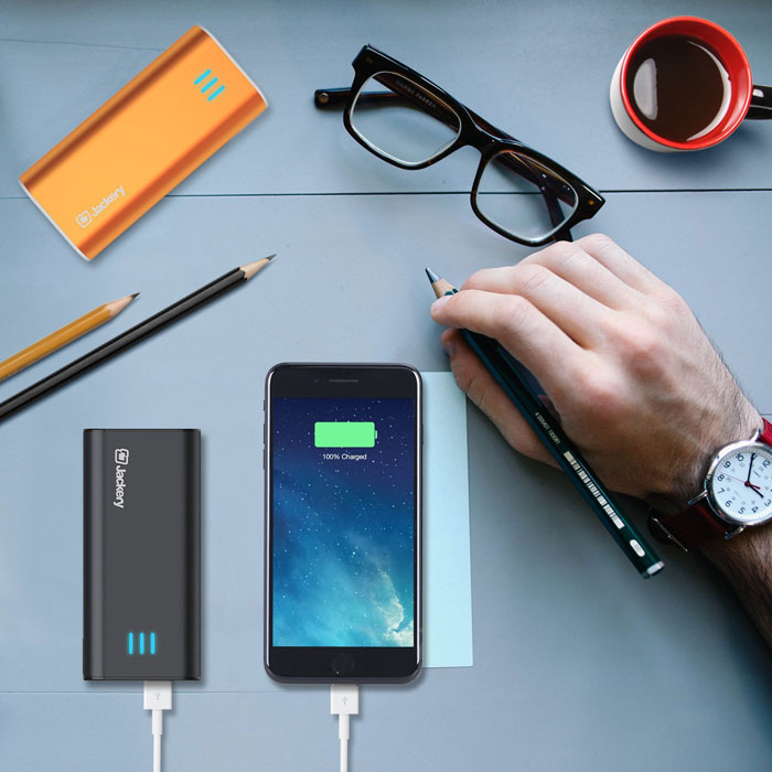Jackery Bar Premium 6000 mAh External Battery Charger in use