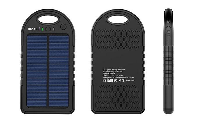Dizaul 5000 mAh Portable Solar Power Bank Design