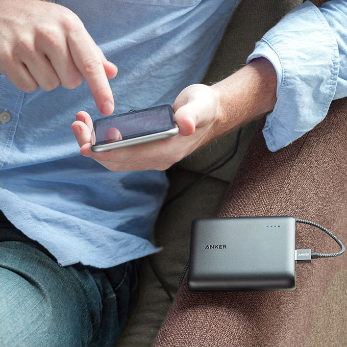Anker PowerCore 13000 Portable Charger in use