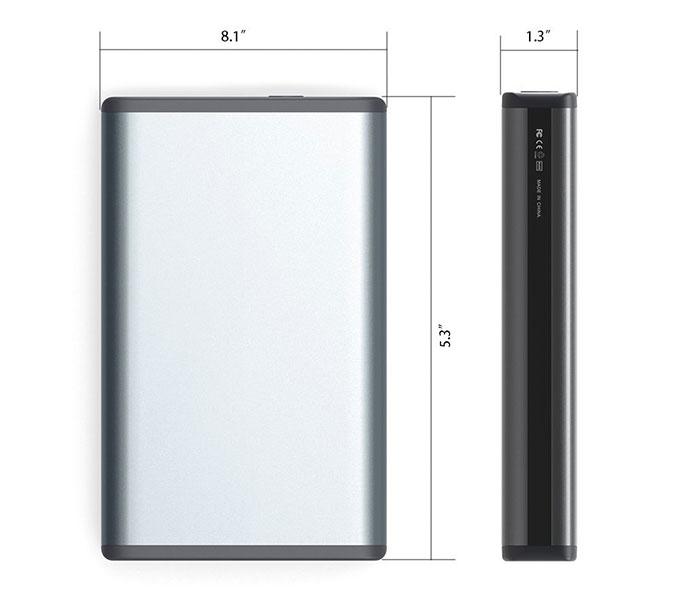 MAXOAK 50,000mAh Portable Charger Size